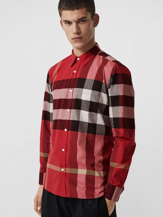 0be896e5a63f Check Stretch Cotton Shirt in Parade Red