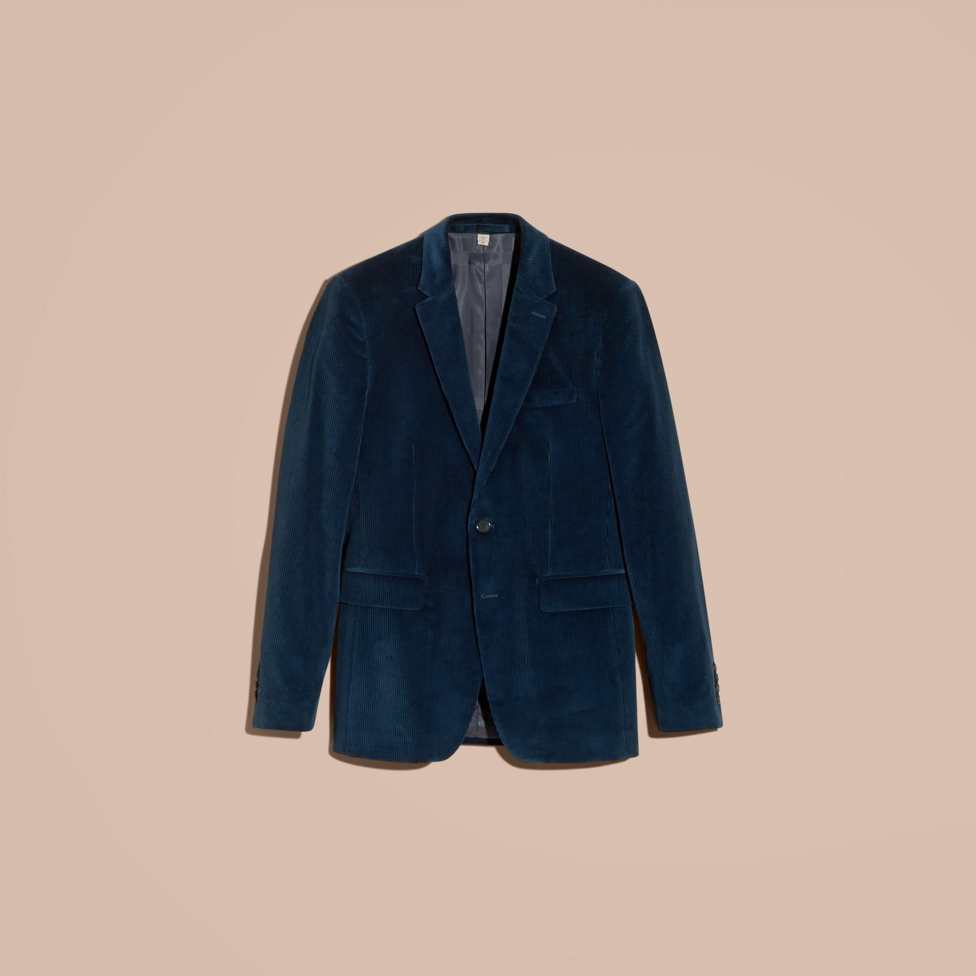 Navy Slim Fit Cotton Corduroy Jacket - gallery image 4