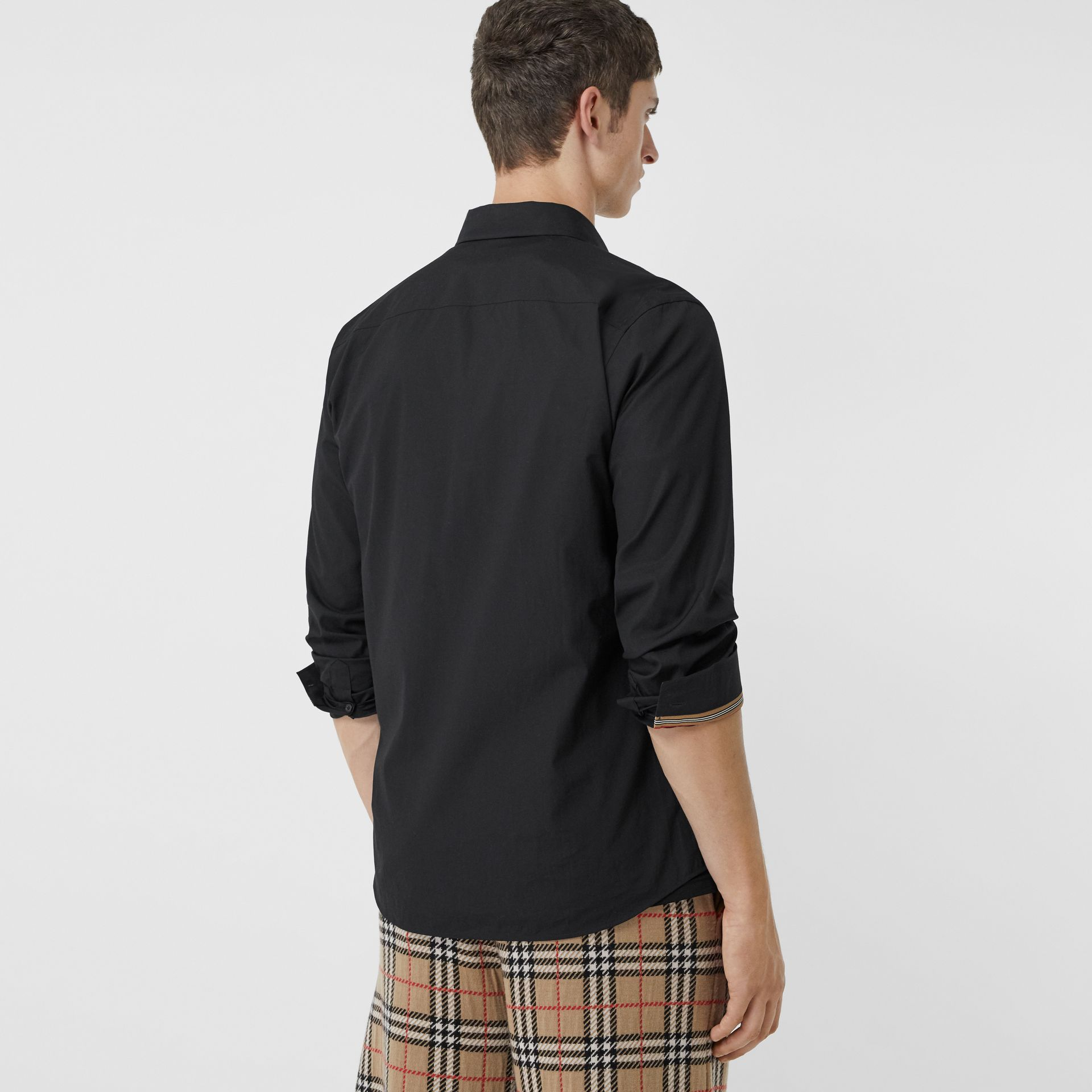 Monogram Motif Stretch Cotton Poplin Shirt in Black - Men | Burberry - gallery image 2