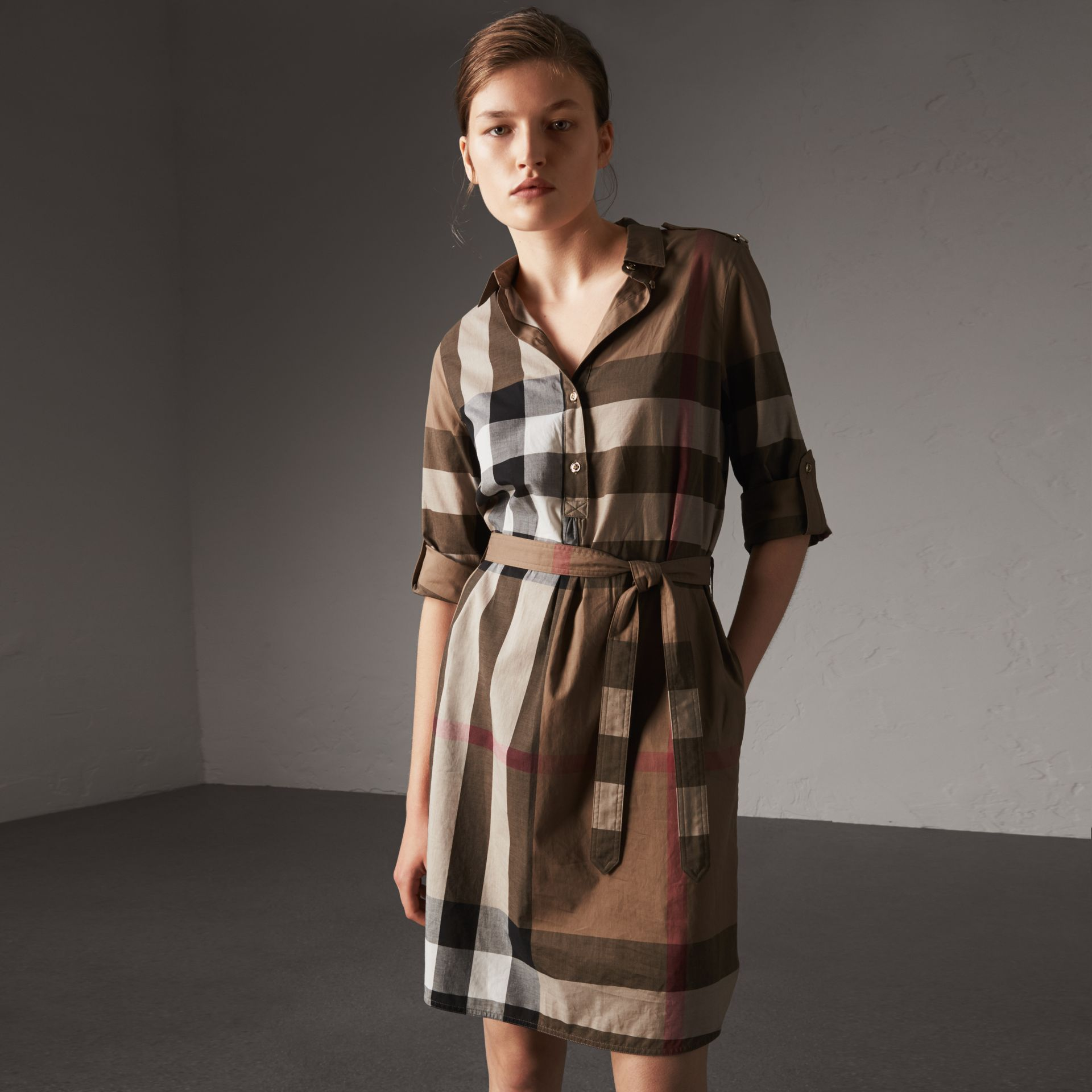 Check Cotton Shirt Dress in Taupe Brown - Women | Burberry Australia - gallery image 0
