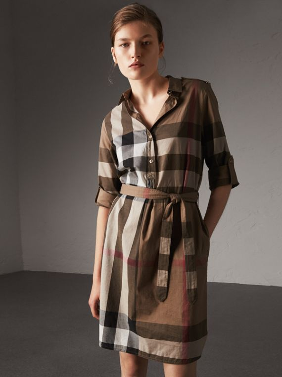 Check Cotton Shirt Dress in Taupe Brown