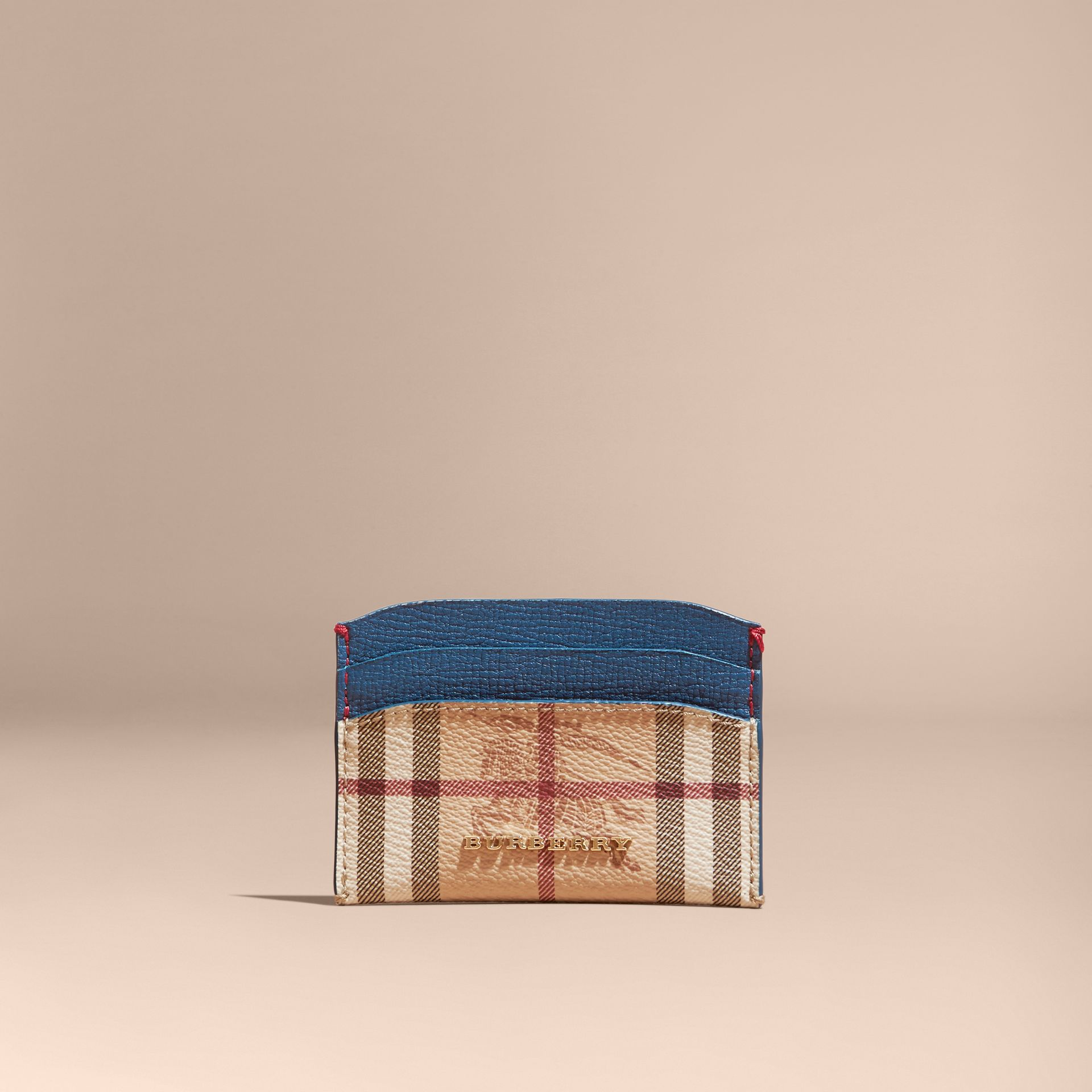 Haymarket Check and Leather Card Case Mineral Blue - gallery image 6