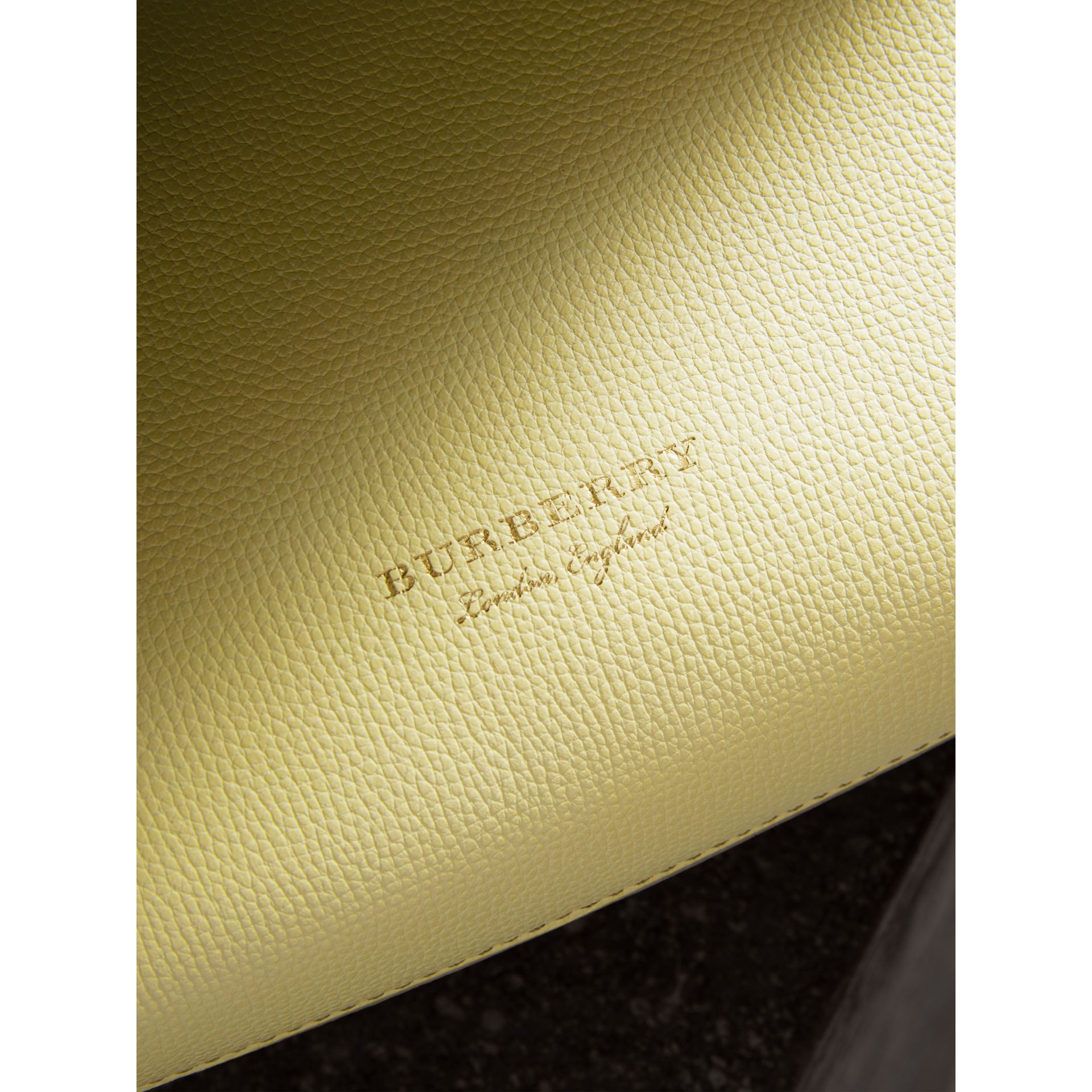 Petit sac The Banner en cuir et coton House check (Jaune Camomille) - Femme | Burberry - photo de la galerie 1