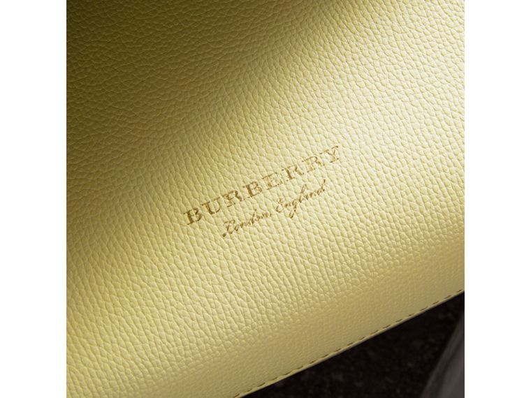 The Small Banner in Leather and House Check in Camomile Yellow - Women | Burberry United Kingdom - cell image 1