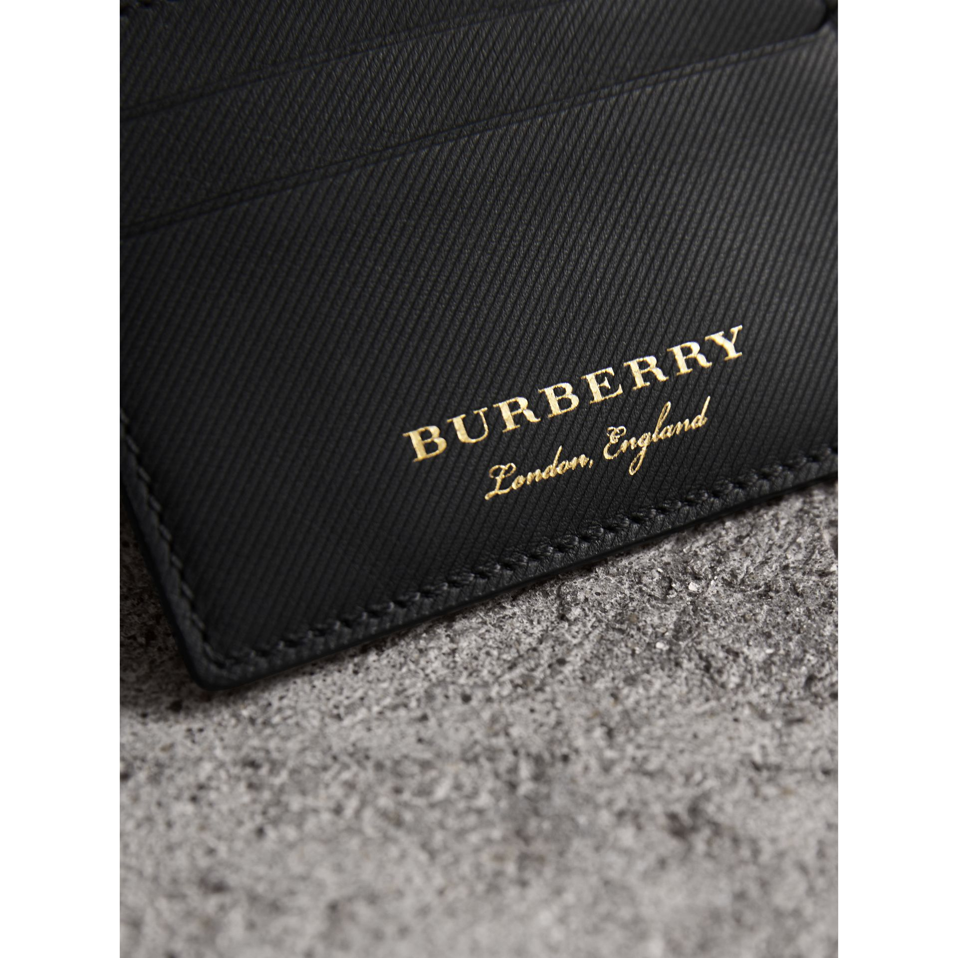 Trench Leather Card Case in Black - Men | Burberry - gallery image 1