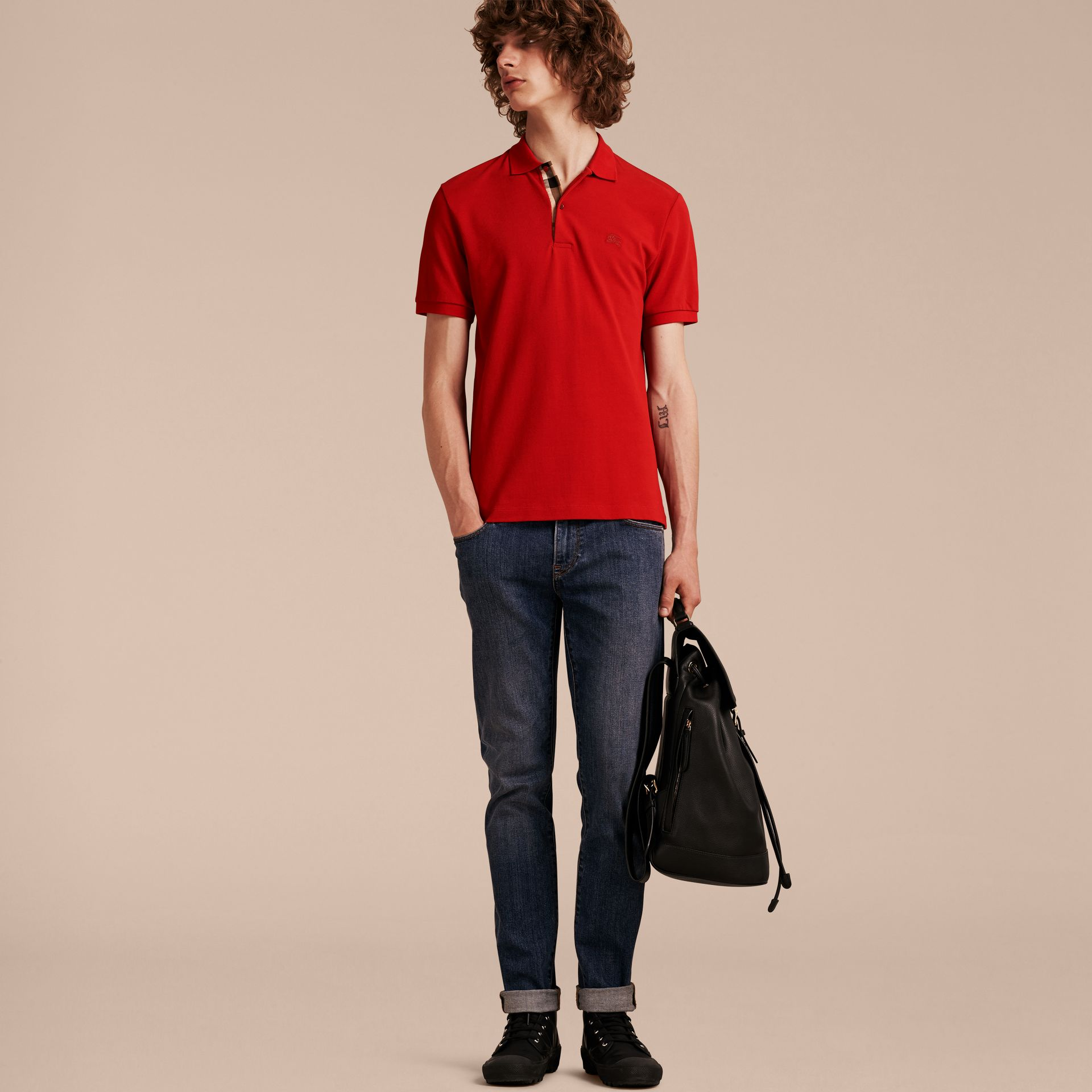 Check Placket Cotton Piqué Polo Shirt in Military Red - gallery image 6