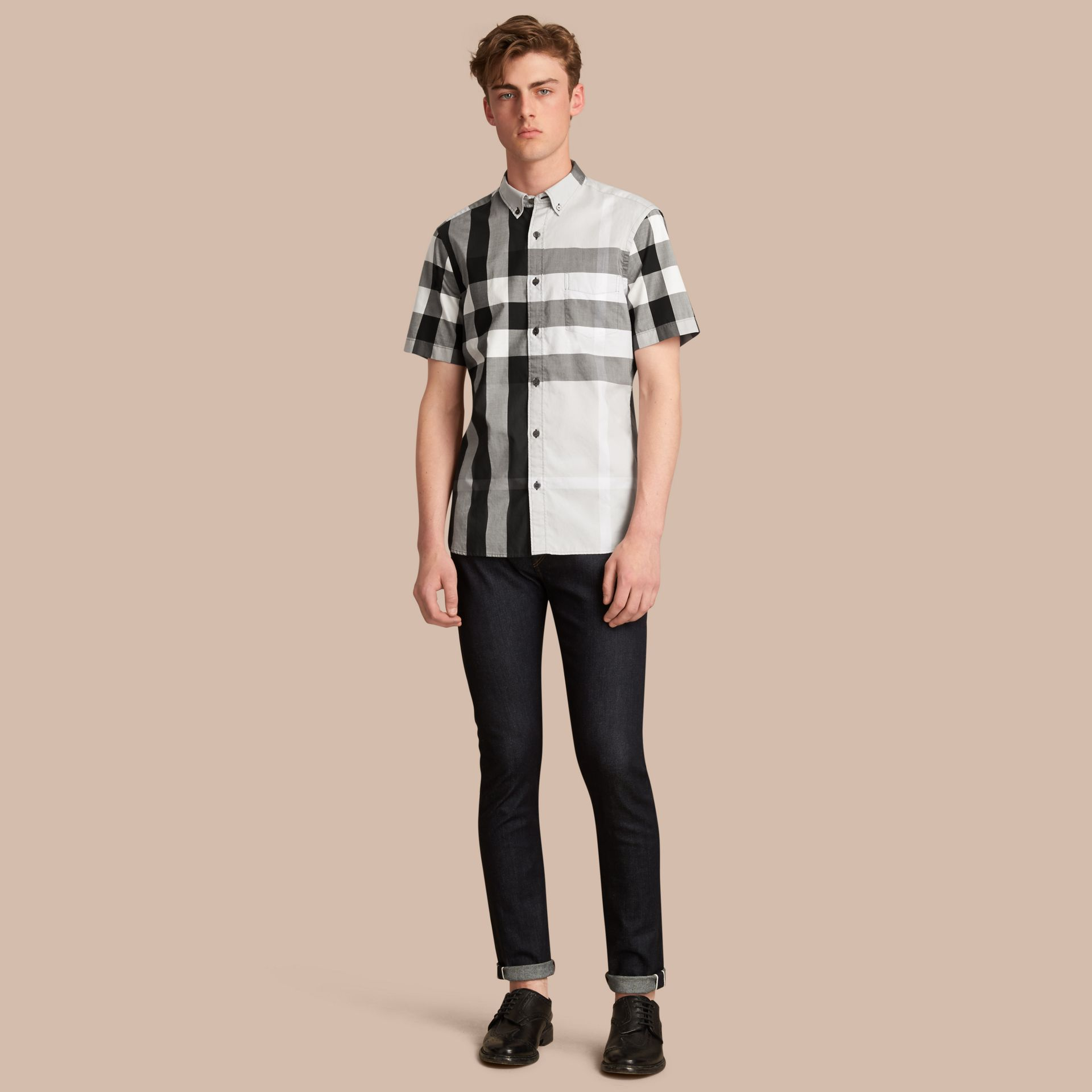 Button-down Collar Short-sleeve Check Cotton Shirt in Light Grey - Men | Burberry - gallery image 1