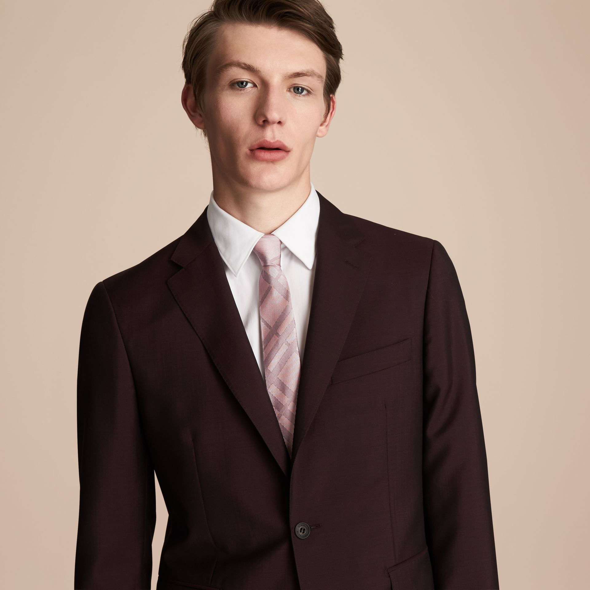 Modern Cut Check Silk Twill Jacquard Tie in Mauve Pink - Men | Burberry - gallery image 3