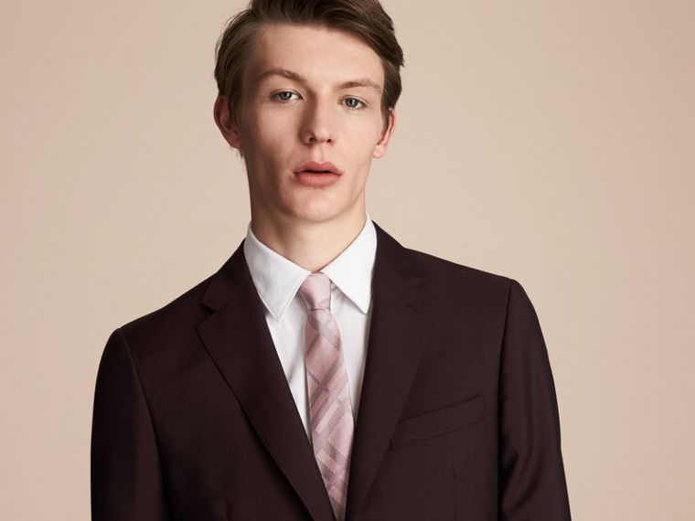 Modern Cut Check Silk Twill Jacquard Tie in Mauve Pink - Men | Burberry Canada - cell image 2