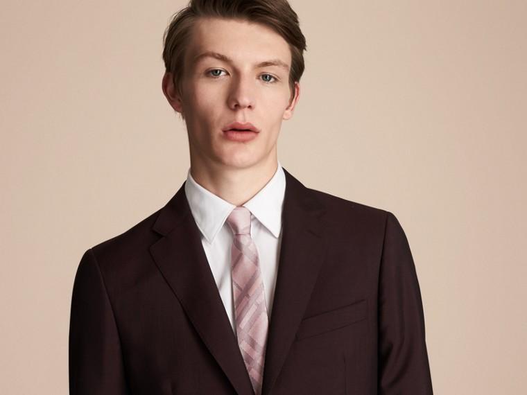 Modern Cut Check Silk Twill Jacquard Tie in Mauve Pink - Men | Burberry Australia - cell image 2
