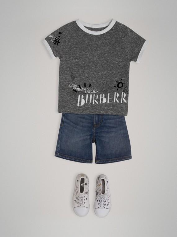 T-Shirt aus einer Baumwollmischung mit Raglanärmeln und Entdeckermotiv (Dunkelgrau Meliert)