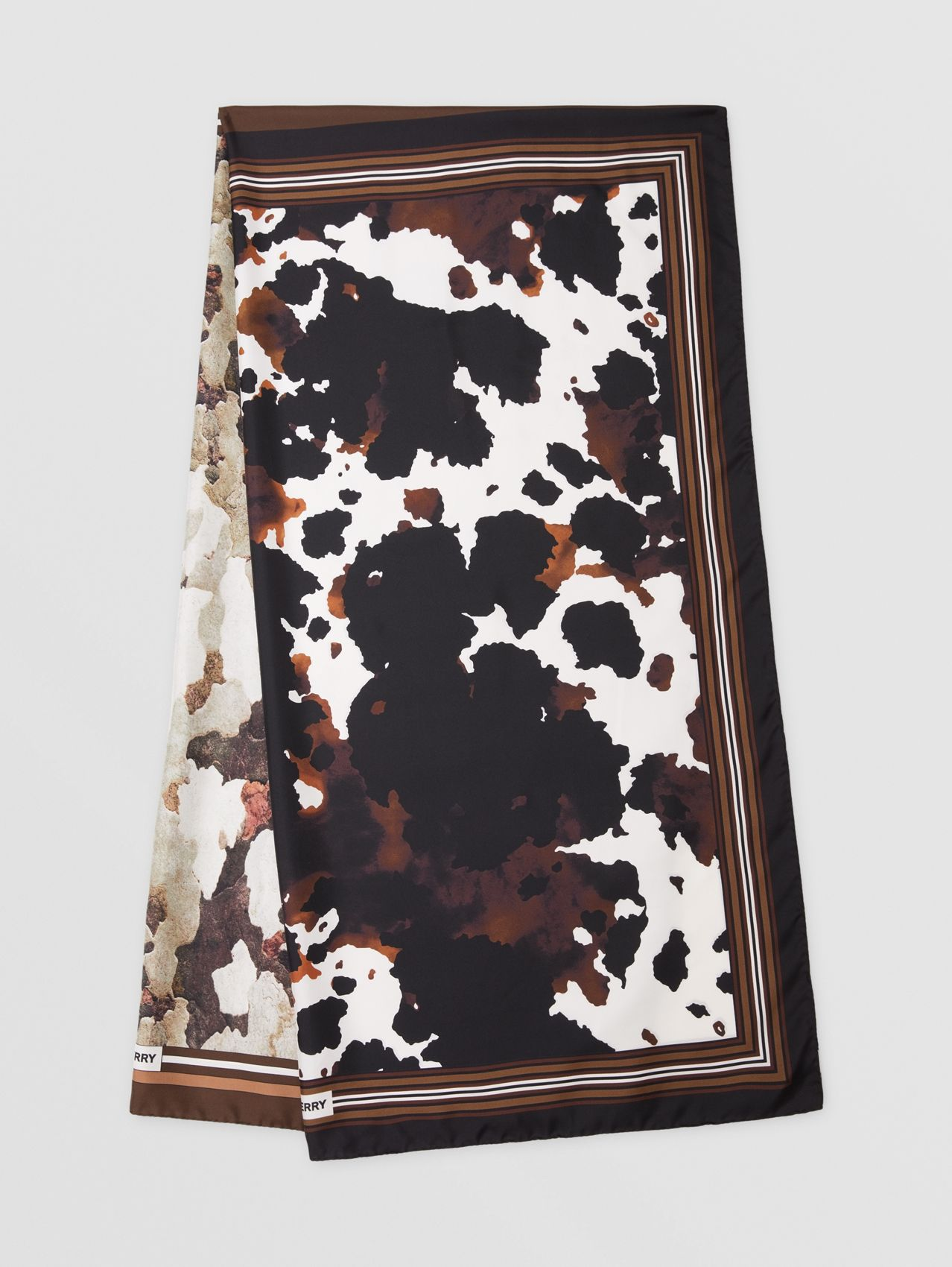 Camouflage Print Silk Scarf in Brown