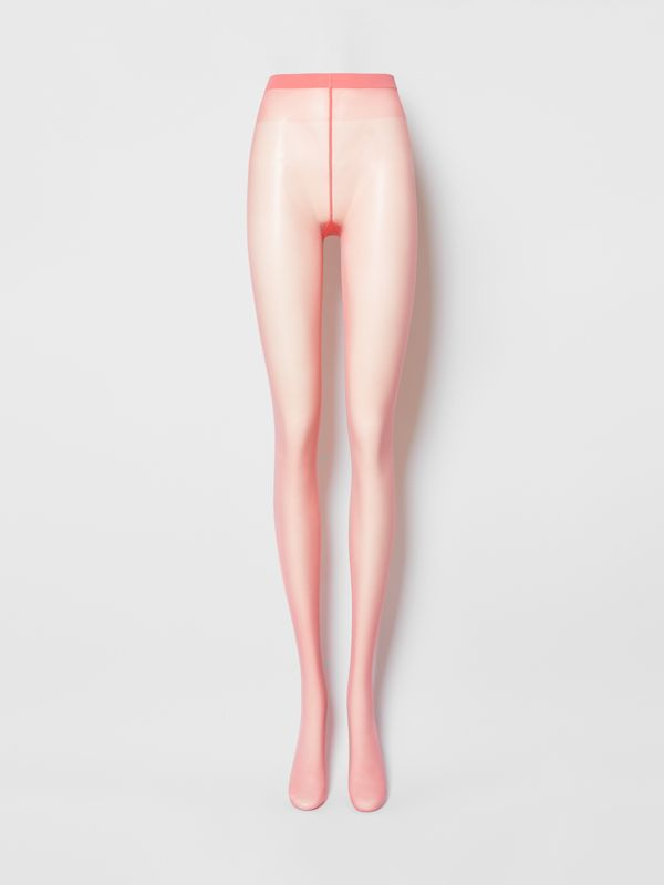 Monogram Motif Seamed Tights in Bright Pink - Women | Burberry - cell image 2