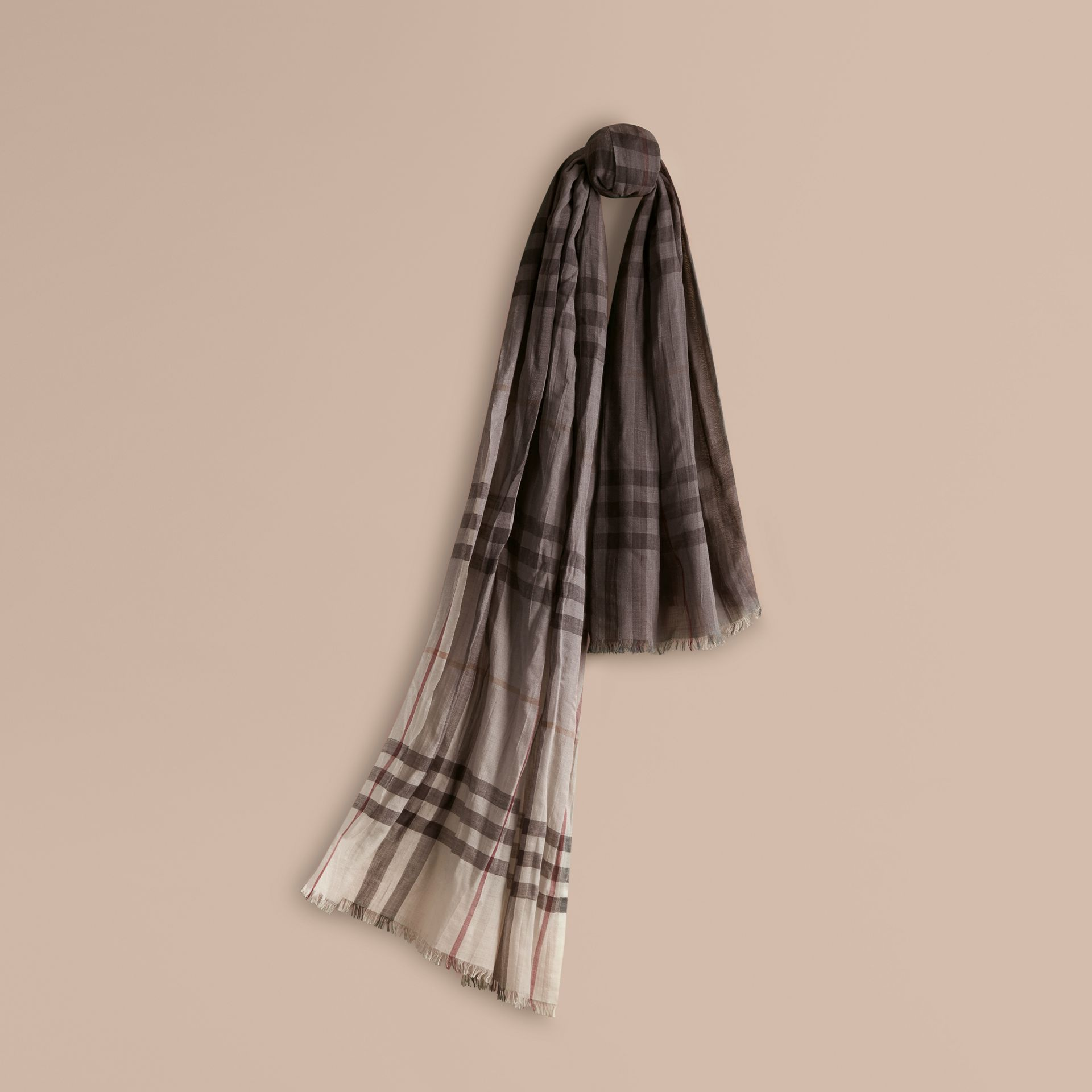 Ivory check Ombré Check Lightweight Wool Silk Scarf Ivory - gallery image 1