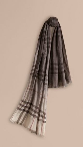 Ombré Check Lightweight Wool Silk Scarf