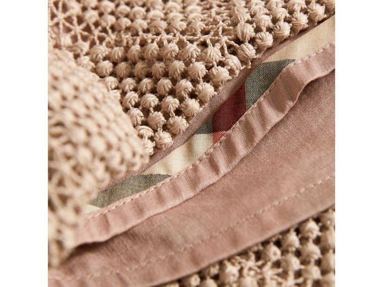 Diamond Macramé Lace A-line Dress in Pale Ash Rose | Burberry - cell image 1