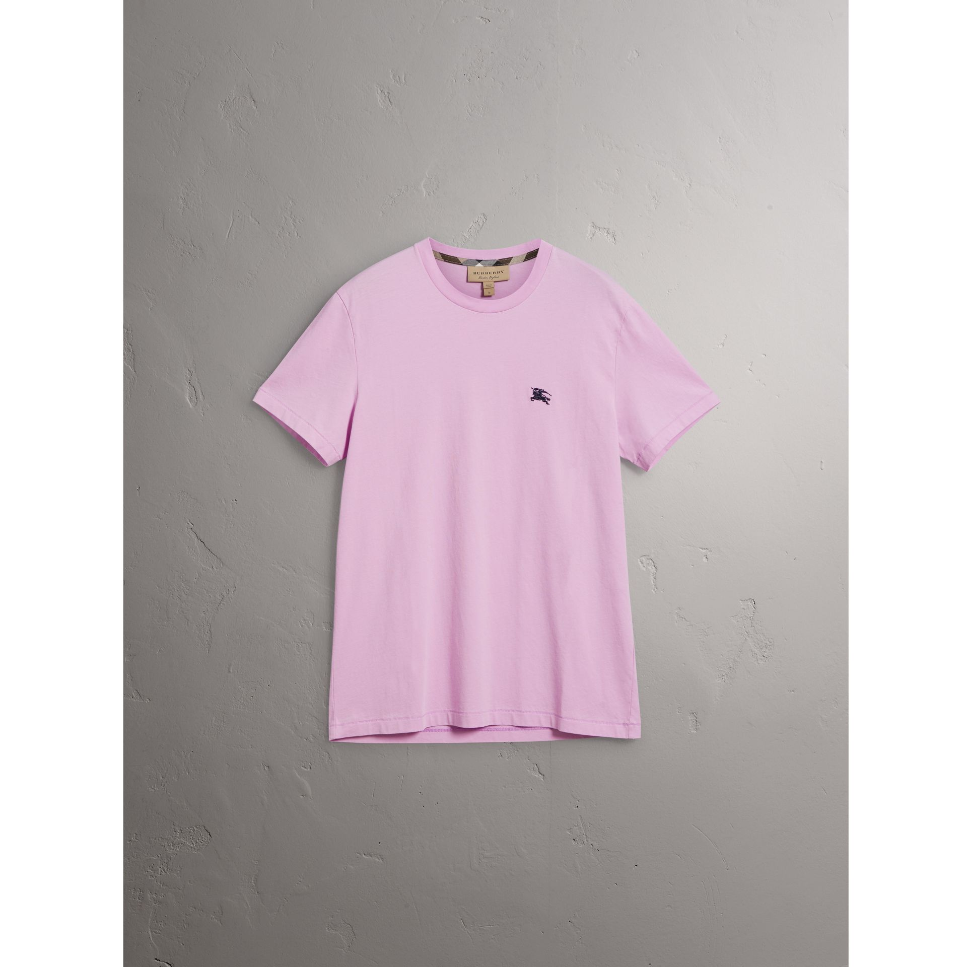 Cotton Jersey T-shirt in Pale Fuchsia - Men | Burberry - gallery image 3