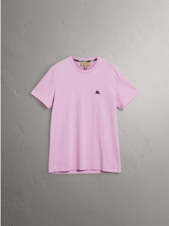 Cotton Jersey T-shirt in Pale Fuchsia - Men | Burberry Singapore - cell image 3