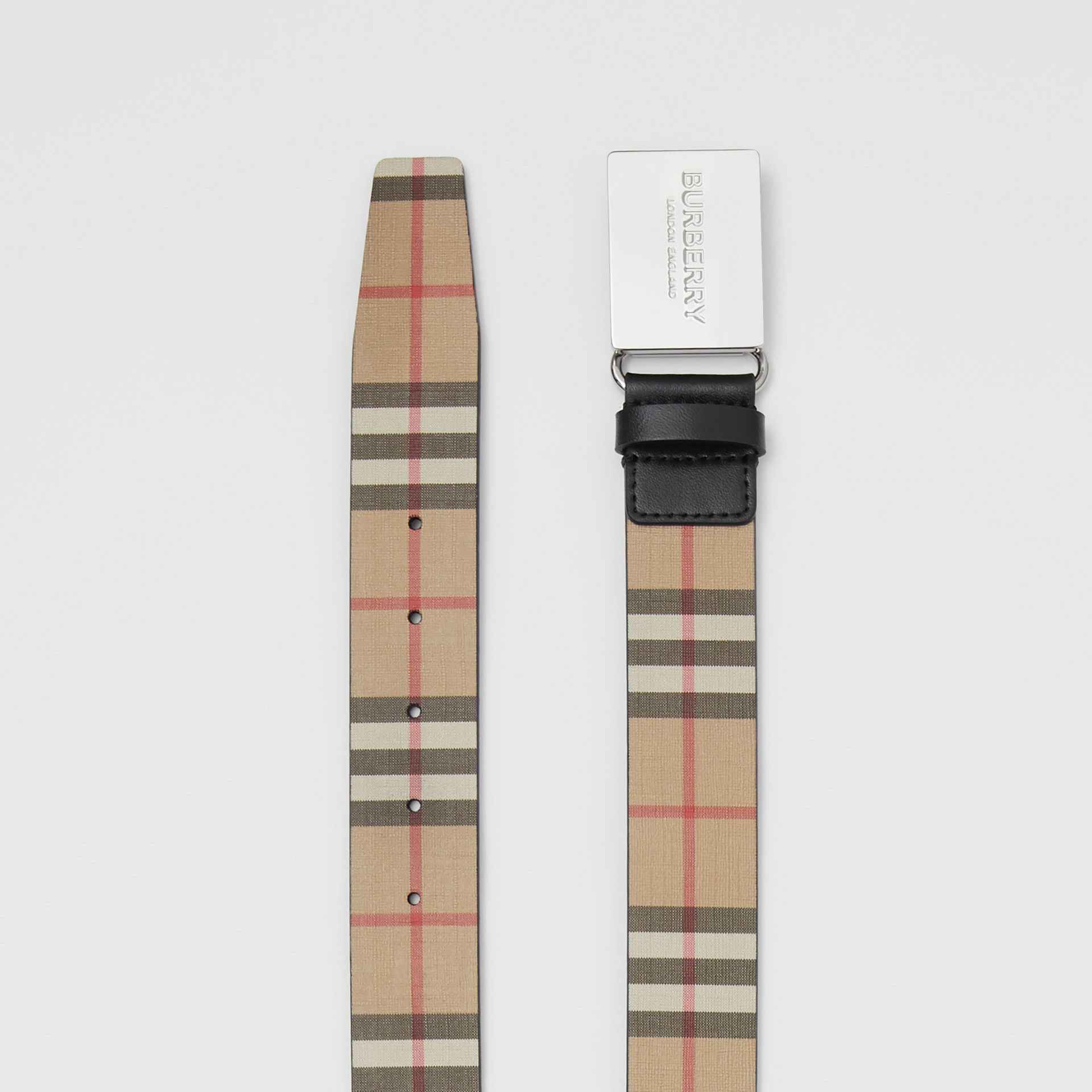Plaque Buckle Vintage Check E-canvas Belt in Archive Beige - Men | Burberry United Kingdom - gallery image 5