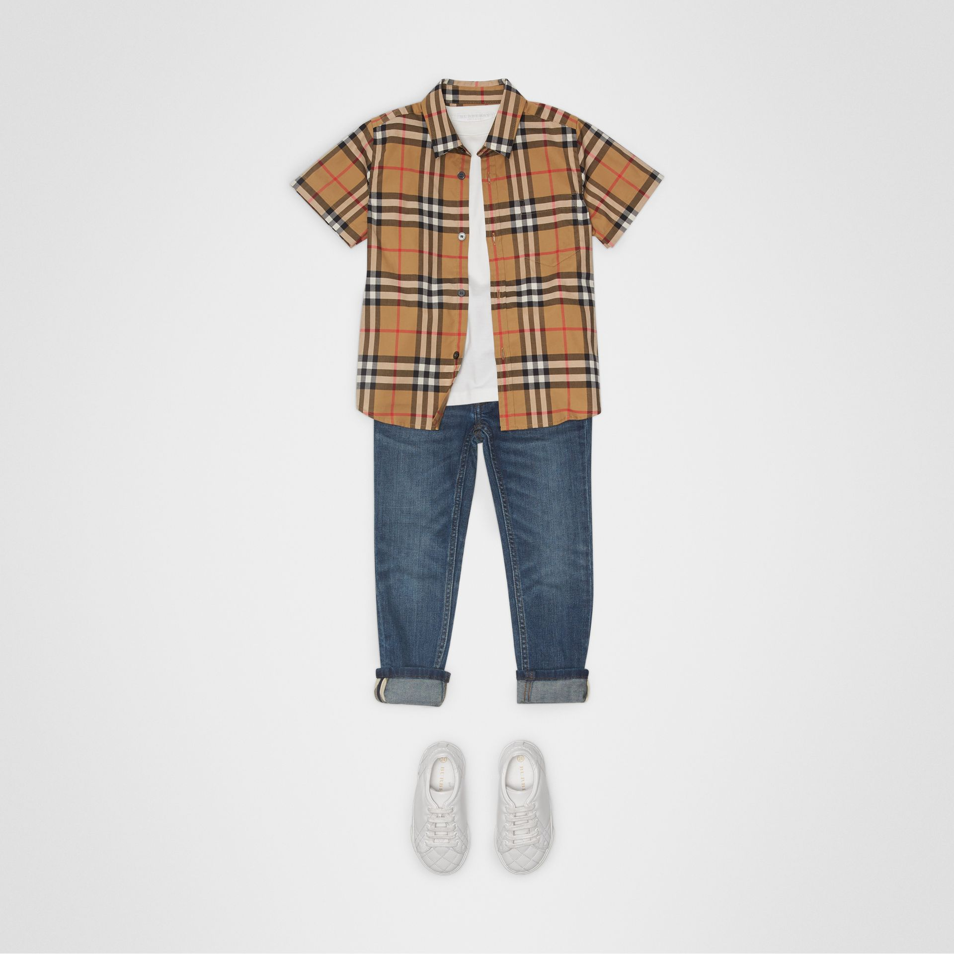 Short-sleeve Vintage Check Cotton Shirt in Antique Yellow | Burberry Singapore - gallery image 2