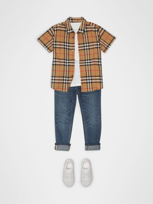 Short-sleeve Vintage Check Cotton Shirt in Antique Yellow | Burberry Singapore - cell image 2