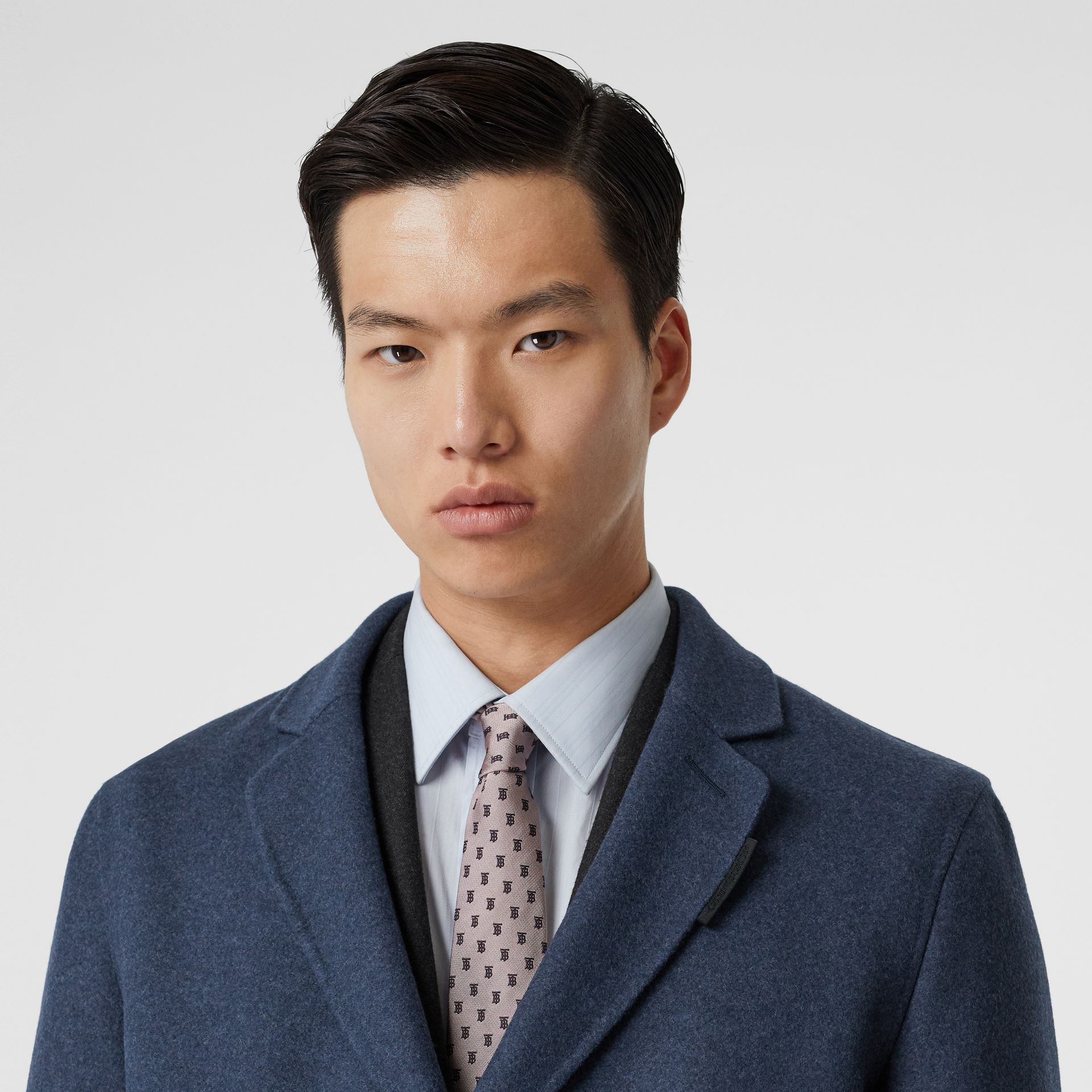Wool Cashmere Lab Coat in Steel Blue Melange - Men | Burberry - gallery image 1