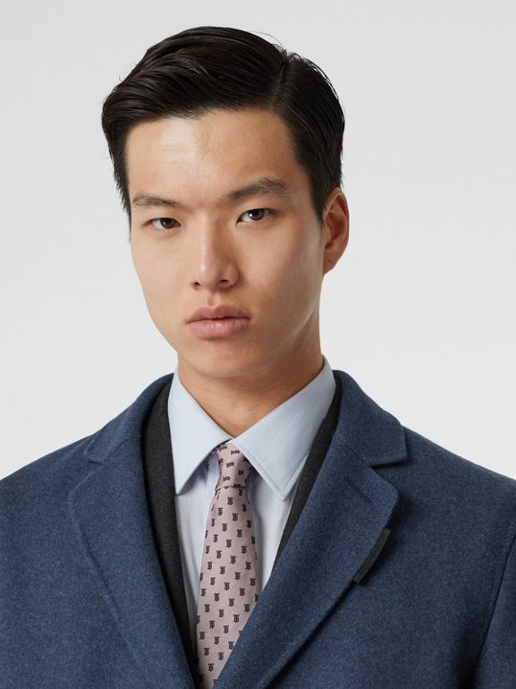 Wool Cashmere Lab Coat in Steel Blue Melange - Men | Burberry United Kingdom - cell image 1