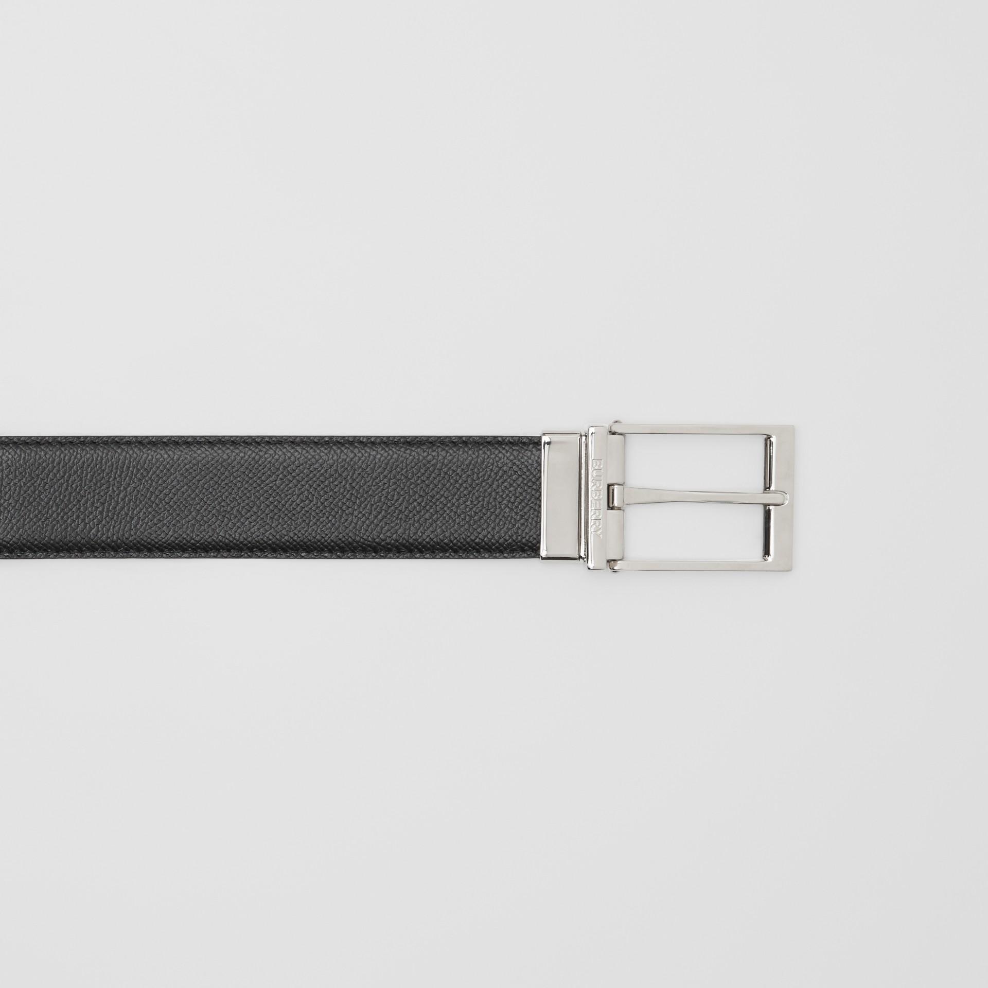 Reversible Grainy Leather Belt in Navy/black - Men | Burberry - gallery image 1