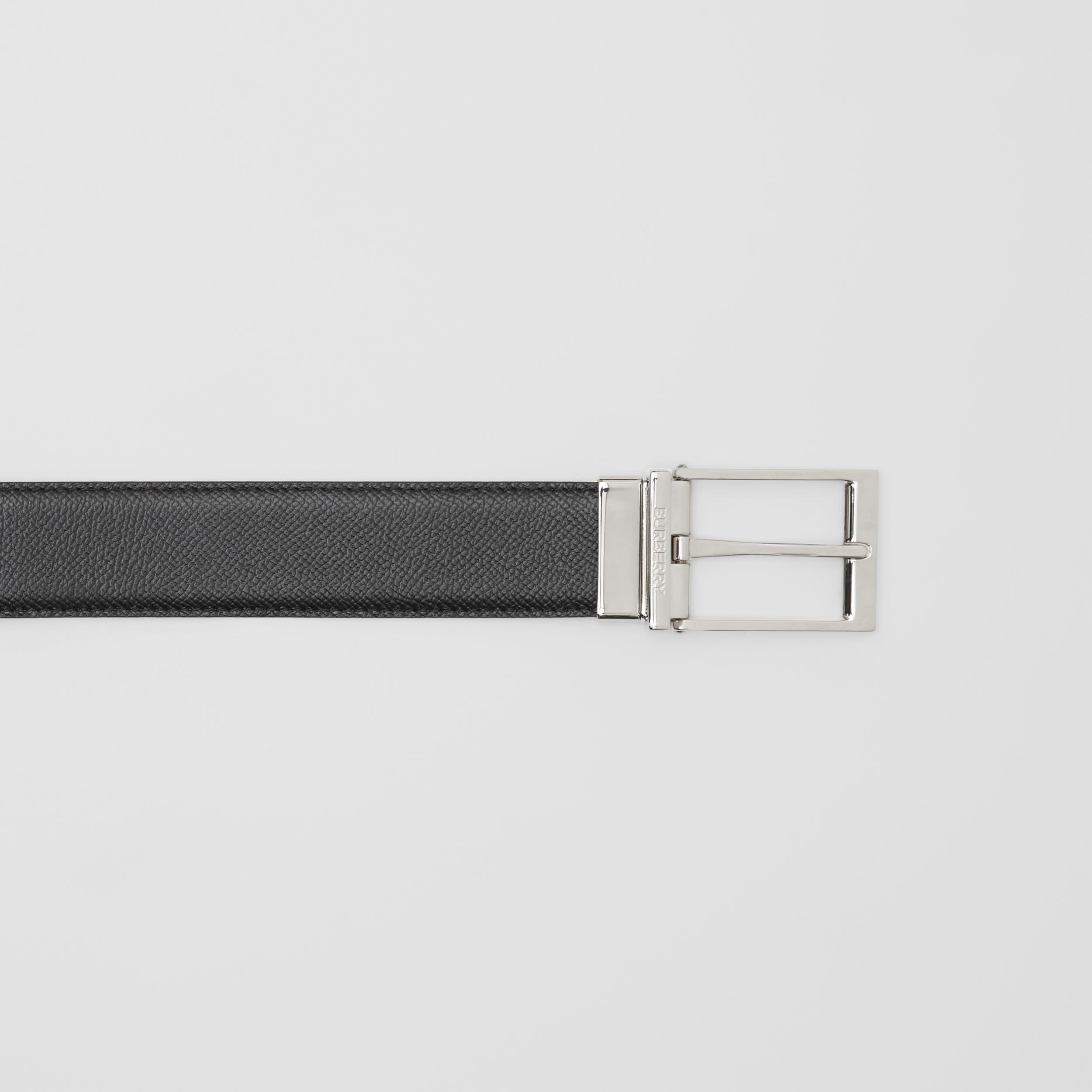 Reversible Grainy Leather Belt in Navy/black - Men | Burberry - 2