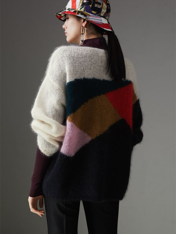 Geometric Intarsia Mohair Silk Blend Sweater in Black - Women | Burberry United States - cell image 2