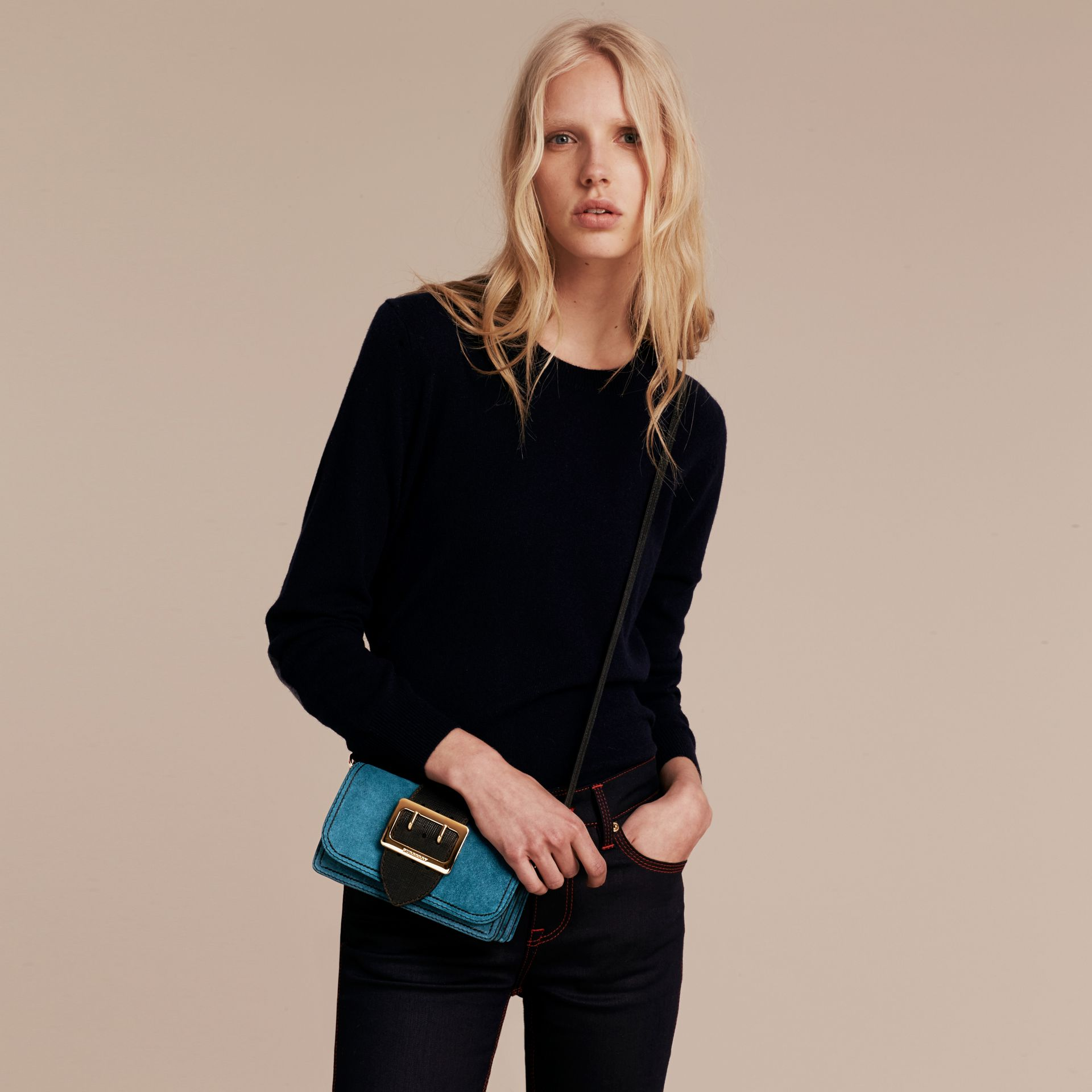 The Small Buckle Bag in Suede with Topstitching in Peacock Blue /black - gallery image 4