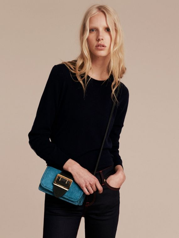 The Small Buckle Bag in Suede with Topstitching in Peacock Blue /black - cell image 3