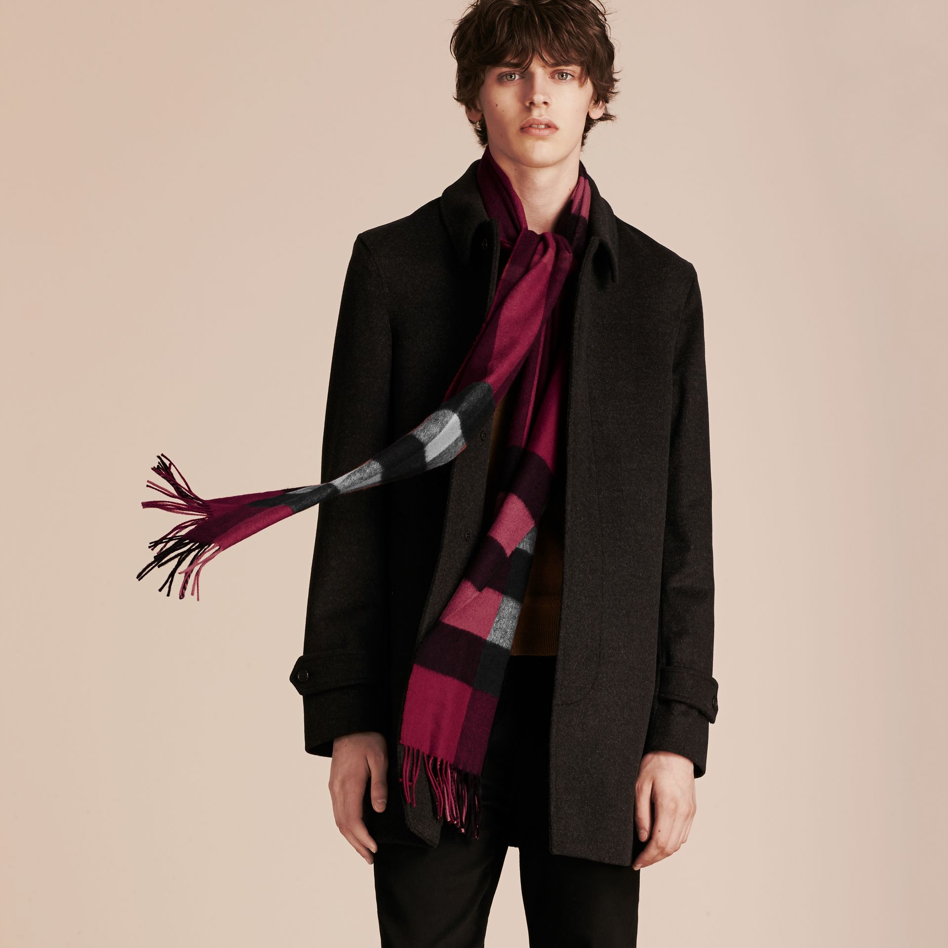 The Large Classic Cashmere Scarf in Check Plum - gallery image 4
