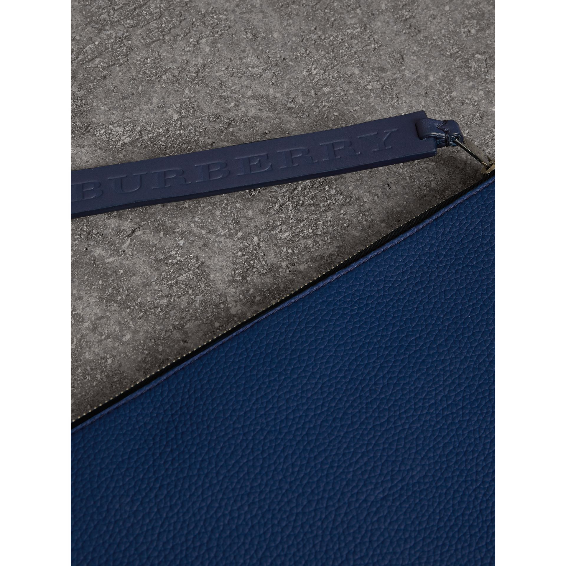 Grainy Leather Zip Pouch in Bright Ultramarine | Burberry Australia - gallery image 1