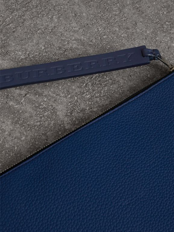 Grainy Leather Zip Pouch in Bright Ultramarine | Burberry - cell image 1