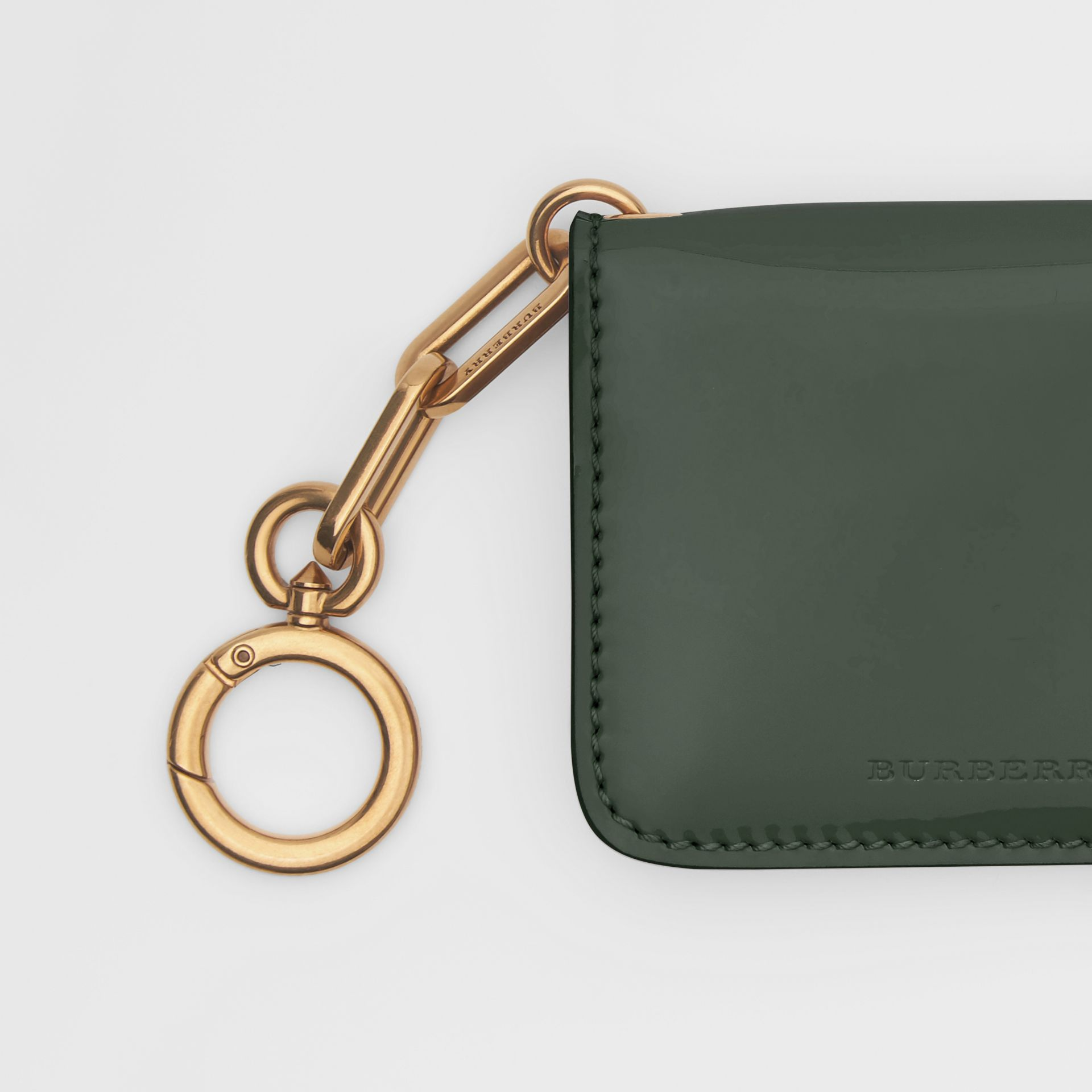 Link Detail Patent Leather ID Card Case Charm in Dark Forest Green - Women | Burberry United States - gallery image 1
