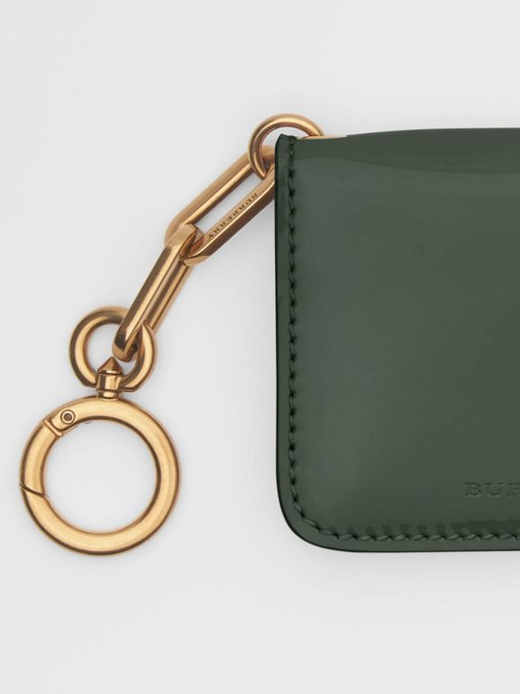 Link Detail Patent Leather ID Card Case Charm in Dark Forest Green - Women | Burberry United States - cell image 1