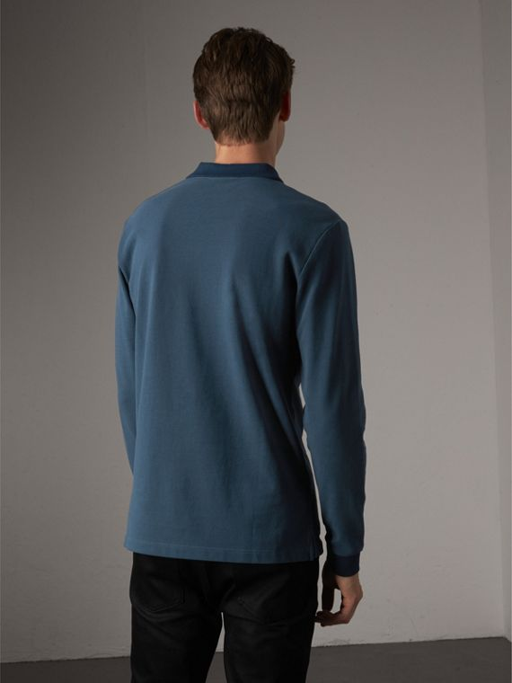 Long-sleeve Cotton Piqué Polo Shirt in Canvas Blue - Men | Burberry - cell image 2