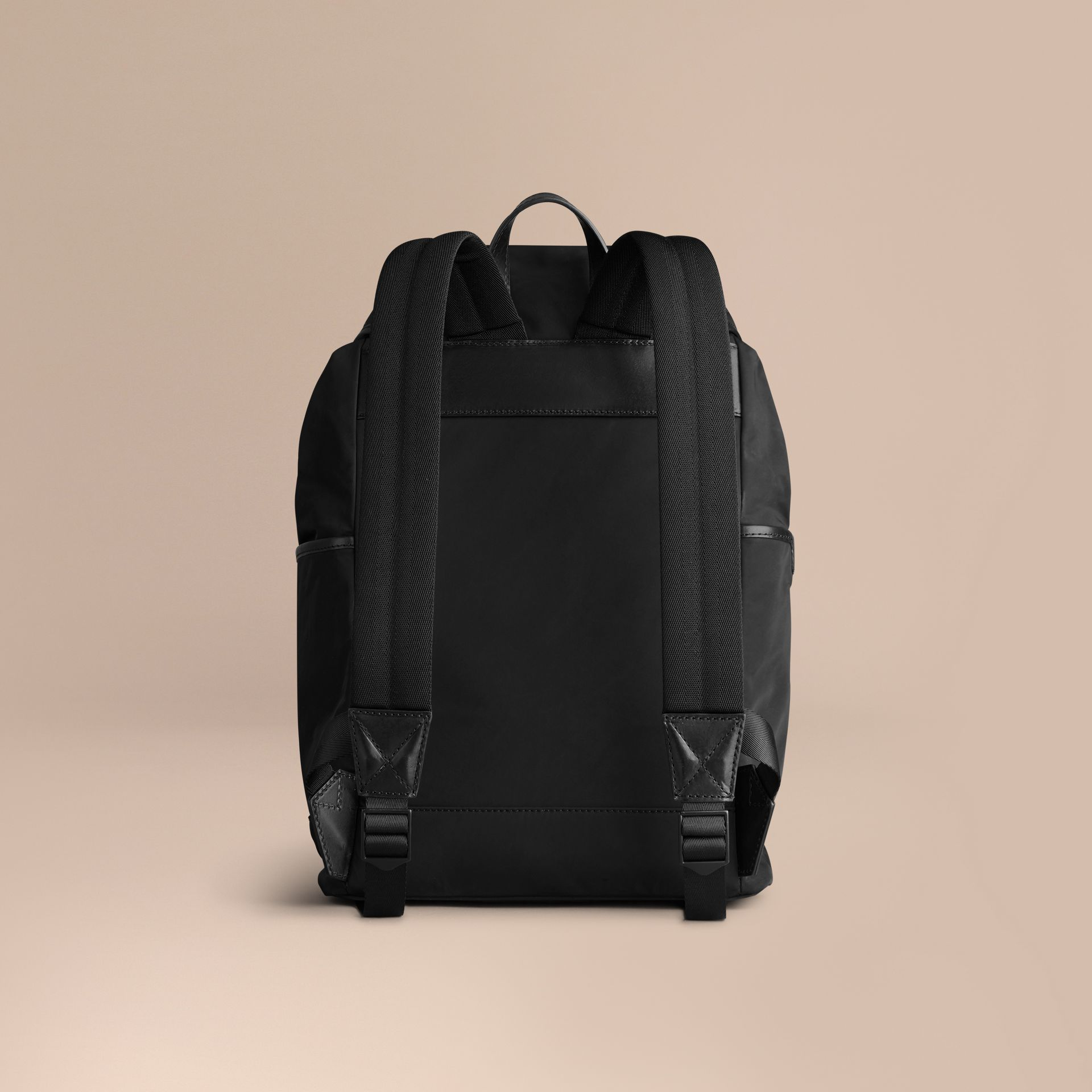 Black Leather Trim Lightweight Backpack Black - gallery image 4