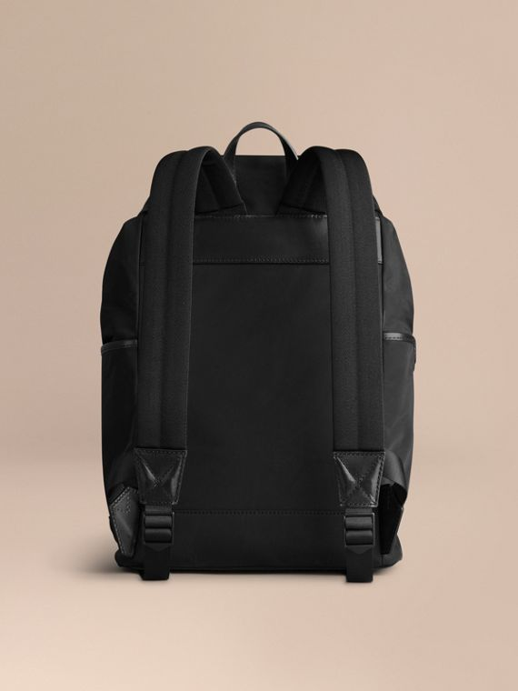 Black Leather Trim Lightweight Backpack Black - cell image 3