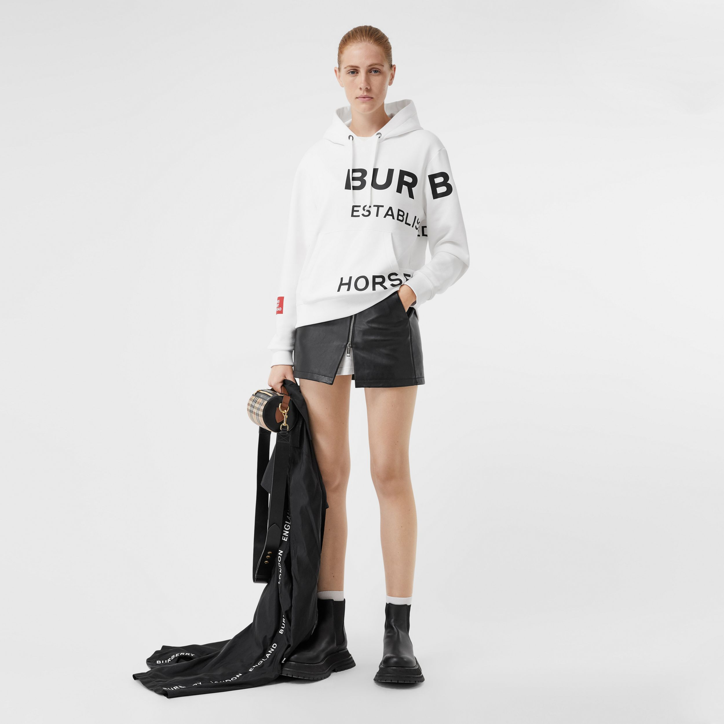 Horseferry Print Cotton Oversized Hoodie in White - Women | Burberry Hong Kong S.A.R. - 1