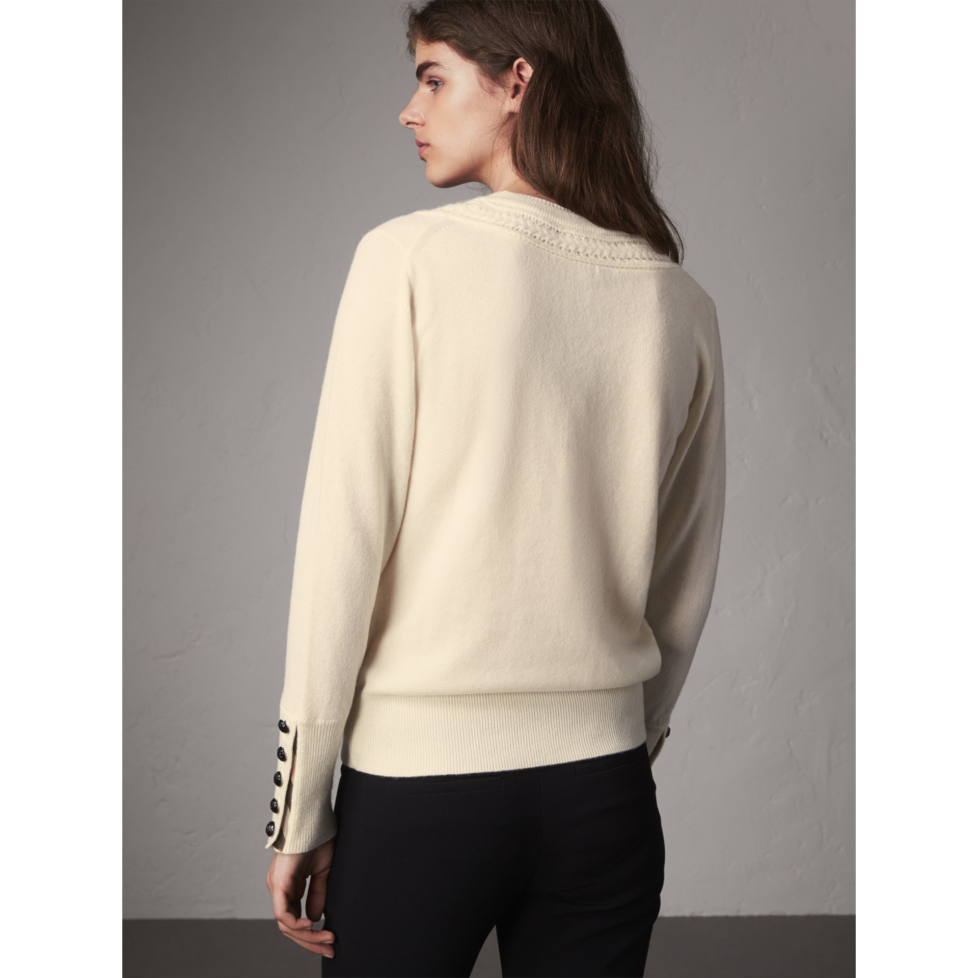 Cable Knit Yoke Cashmere Sweater in Natural White - Women | Burberry - gallery image 3