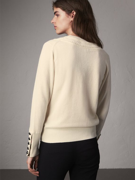 Cable Knit Yoke Cashmere Sweater in Natural White - Women | Burberry Singapore - cell image 2