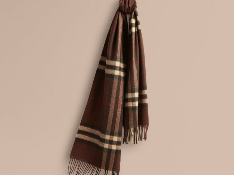 Dark chestnut brown check The Classic Cashmere Scarf in Check Dark Chestnut Brown - cell image 4