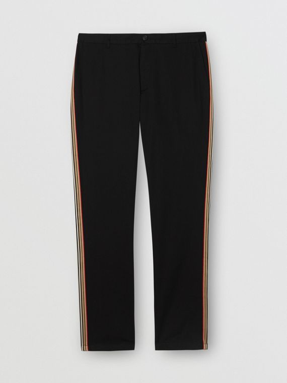 Slim Fit Icon Stripe Detail Cotton Chinos in Black