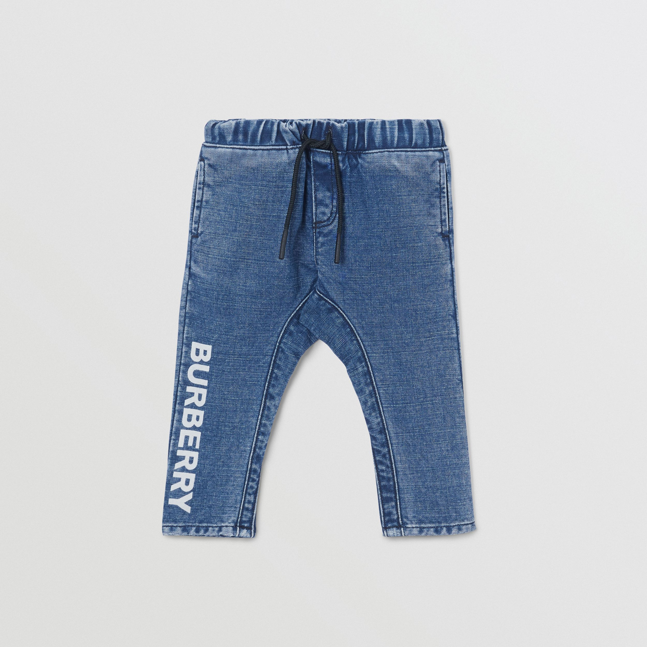 Logo Print Japanese Denim Jeans in Indigo - Children | Burberry - 1