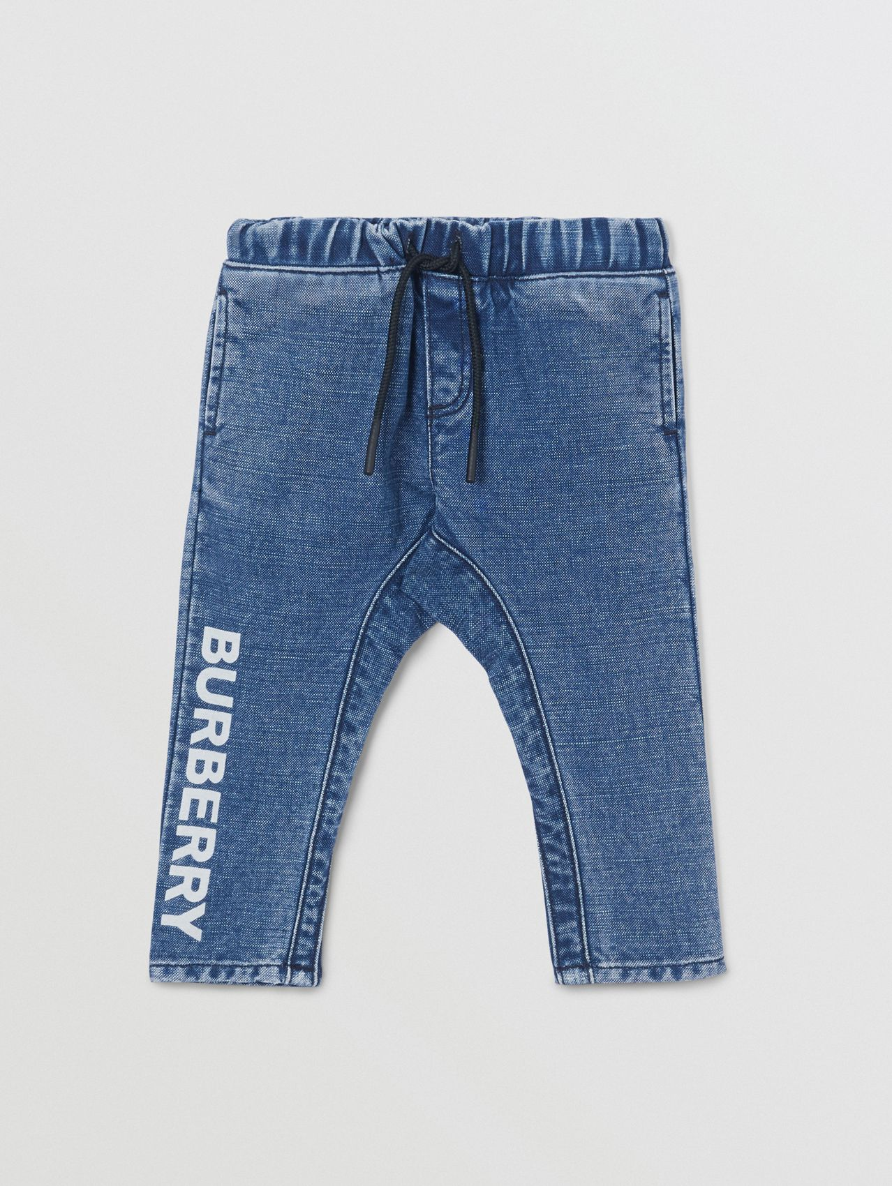 Logo Print Japanese Denim Jeans in Indigo