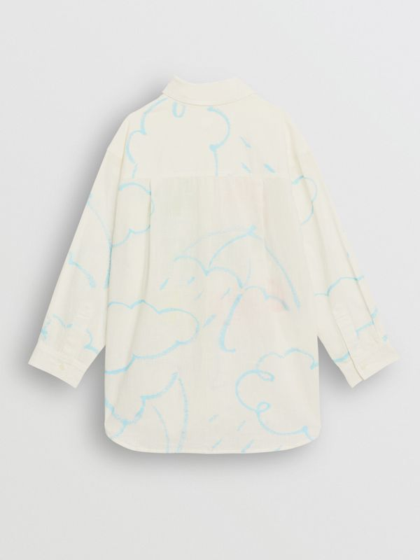 Umbrella Print Linen Cotton Shirt in White | Burberry - cell image 3