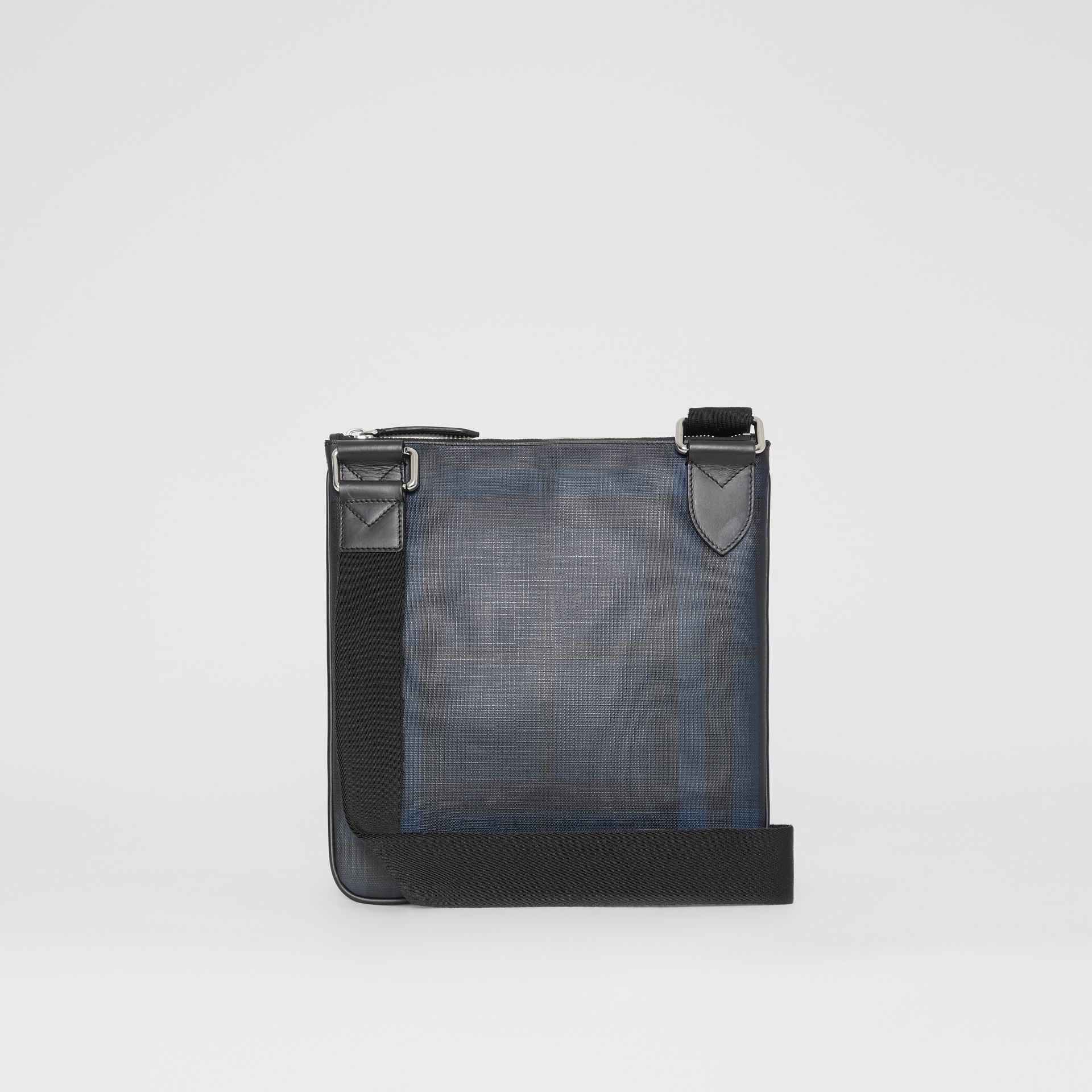 Leather Trim London Check Crossbody Bag in Navy/black - Men | Burberry - gallery image 7