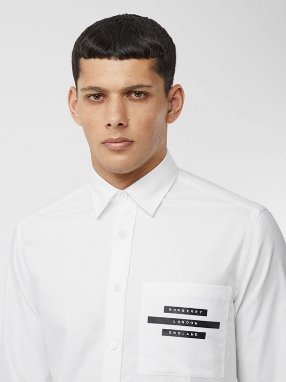 Classic Fit Tape Print Cotton Oxford Shirt in White - Men | Burberry United Kingdom - cell image 1